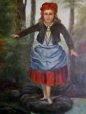 Folk Art Oil Painting on Metal Girl Maiden Forest Stepping on Rocks Whimsey