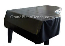 "Black Vinyl Grand Piano Cover for Pianos From 5'3"" to 5'6"" - SIDE SLITS"