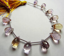 """Natural  6"""" SUPER Natural Ametrine Faceted TEAR DROP SHAPE BEADS 10 TO 12 mm"""
