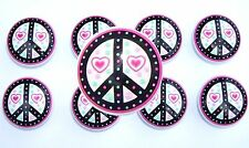 8 Black Pink Peace Sign Hearts And Dots Kids Dresser Knobs Girl Made As Ordered