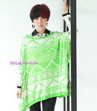 Japan Geo Zigzag Neon Soft Knit Wide Cape Sweater! GREEN