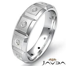 Diamond Eternity Wedding Mens Band Bezel Bevel Edge Ring 14k White Gold 0.15Ct