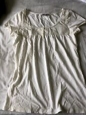 espirit Ladies Cream S/S Button Neck Smocked Top Size Large