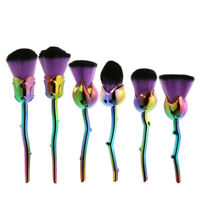 6pcs Rose Shape Makeup Brush Foundation Powder Blush Makeup Cosmetic Tool #JT1