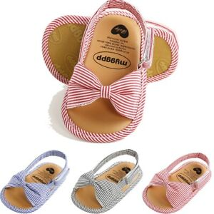 Toddler Infant Kids Baby Girls First Walkers Bowknot Shoes Open Toe Sandals