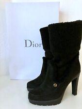 DIOR Stiefel Schwarz 39,5 Lammfell Wildleder Stiefeletten High Heels Boots Black