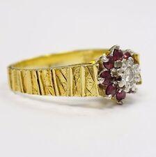 18ct Solido Oro Giallo Diamante Naturale & Ruby Grappolo Anello Taglia O