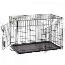 Pet-Kennel-Cat-Dog-Folding-Crate-Wire-Metal-Cage-W-Divider-48-42-36-30-24