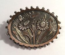 Antique Victorian sterling silver & gold oval locket brooch, w flowers & leaves