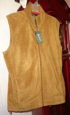 M NWoT Mens Woolrich Outdoor Clothing Vest Fleece Zip Brown Pockets Adj Drawcord