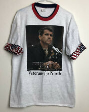 Vintage 1980s Ollie North Veterans For North Fold Over Sleeves Tshirt Size Xl