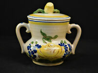 Vintage 1941-'45 Redwing Pottery Sugar Bowl W/Lid/Brittany Pattern/Hand-Painted