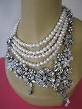 "BETSEY JOHNSON ""SOMETHING NEW"" CRYSTAL & FAUX PEARL STATEMENT NECKLACE~NWT"