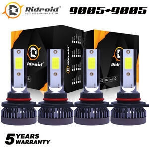Ridroid 9005+9006 Combo LED Headlight Kits 240W High/Low Beam Bulbs 6000K White