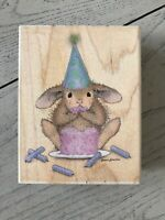 STAMPABILITIES WOOD RUBBER STAMP HOUSE MOUSE DESIGNS IT'S MY PARTY HMJR1059
