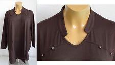NEU Übergröße Damen Stretch Shirt d.braun toller Ausschnitt Glitzsteine Gr.60