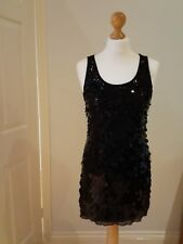 E-vie Size 10 Black Large Sequined Sleeveless Evening Mini Dress