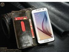 For samsung galaxy s6 edge - Leather Matt Wallet Case- Black