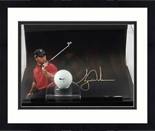 Framed Tiger Woods Signed 8x10 Over the Shoulder Photo with Range Ball Display