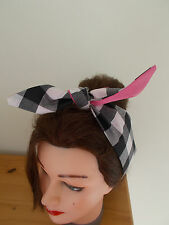 HEAD SCARF NECK HAIR BAND BOW BLACK GINGHAM PINK ROCKABILLY BUNNY SWING PIN UP