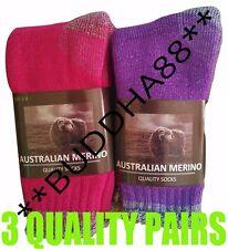 3-PAIRS HEAVY DUTY WOMENS AUSTRALIAN MERINO EXTRA THICK WOOL WORK HIKING SOCKS