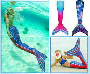 Damen Kinder Meerjungfrau Schwanz Badeanzug Monoflosse Kostüm Bademode Schwimmen