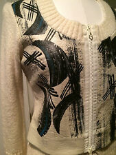 EUC Save the Queen ITALY wool blend faux leather cropped cardigan white black