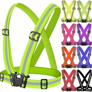New Hi Viz Vest High Safety Visibility Reflective Belt Running Work Strap Safty