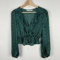 Atmos&Here Womens Top 6 Green Polka Dot Long Sleeve Scoop Neck Elastic Waist