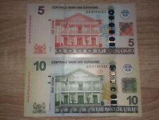 Suriname $ 5 Dollars 2012 Pick 162b & $ 10 Dollars 2019 P.163 UNC Banknoten