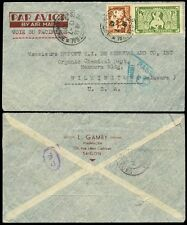 INDOCHINA 1940 AIRMAIL HONG KONG CENSOR + VICTORIA...L.GAMBY CHEMIST ENVELOPE
