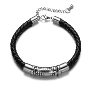 Real Leather and Stainless Steel Mens Jewelry Stylish Bracelet Gift For Him Dad