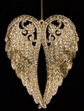 Gisela Graham Ornate Antique Gold Glitter 3D Angel Wings Christmas Decoration