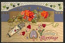 VALENTINE HOLIDAY FLOWERS BOW & ARROW HEARTS GLITTER WINSCH POSTCARD 1910