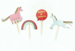 I BELIEVE IN UNICORNS CUPCAKE TOPPERS PICKS  BIRTHDAY PARTY SUPPLIES FAVOURS