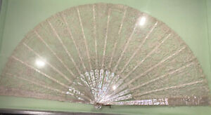 vintage mother of pearl hand fan english lace 1800s