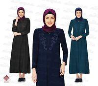 Women Ladies Full Sleeve Coat Style Abaya Modest Jilbab Turkish Ferace AL6004