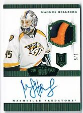 2013-14 DOMINION ROOKIE PATCH AUTOGRAPH EMERALD #220 MAGNUS HELLBERG 2/5 !!
