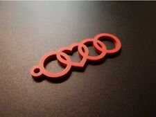 2x Audi Heart Keychain Valentines Cute Cool Gadget Key Ring Great Gift Couples