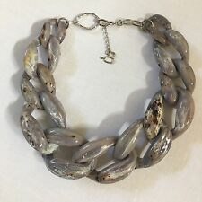 $275 DIANA BROUSSARD 'Nate' Chain Link Necklace, Gray Marble/Silver-tone Metal