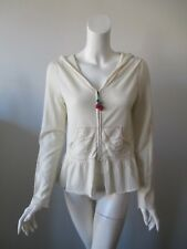NWT Anthropologie MOTH Ivory Zip Front Hooded Knit Cardigan Sweater M/L  $88