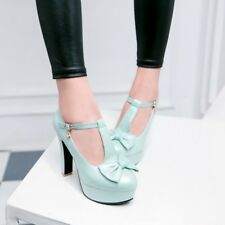 Lady Block Heels Shoes Candy Ankle Strap Bow Platform Mary Jane Lolita Pumps New