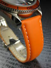 New OMEGA 20mm Rubber Strap Diver Watch Band Orange with White Stitch 20 mm