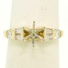14k Yellow Gold Engagement Ring Semi-Mount Setting w/ Round & Baguette Diamonds