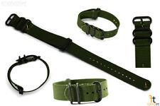 20mm Fits Luminox Nylon Woven Military Green Watch Band Strap 4 Black S/S Rings