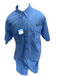 Columbia PFG Blue Vented Fishing Shirt Mens XL Moisture Wicking Mesh Lining NWT