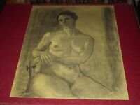 [ André LANDAUD 1924-2013] Naked Female Grd Drawing Charcoal-Pastel Paper.Yellow
