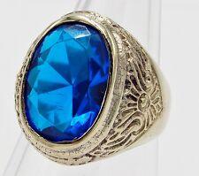 MEN RING BLUE TOPAZ BRONZE SILVER SOLITAIRE FILIGREE EAGLE VINTAGE LOK SIZE 10.5
