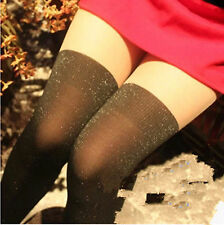Women Party Glitter Shine Sexy Fake thigh high Black Pantyhose Stockings Tights