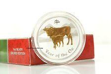 Australia 2008 1$ Year of the Ox Lunar Calendar Series II Silver Coin Gilded